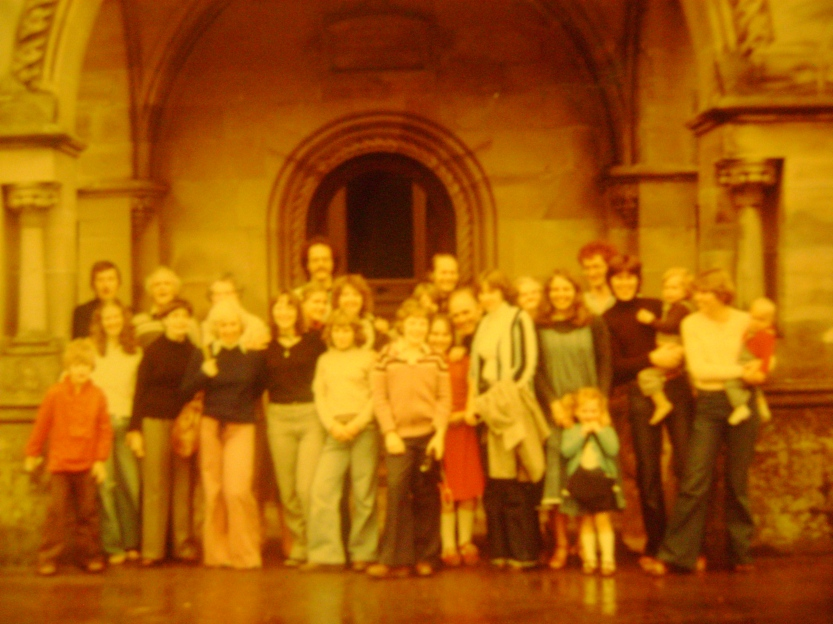 This is a crowd of folks at our house - I'm the wee redhead at the front. My mum is right behind me in the blue dress.